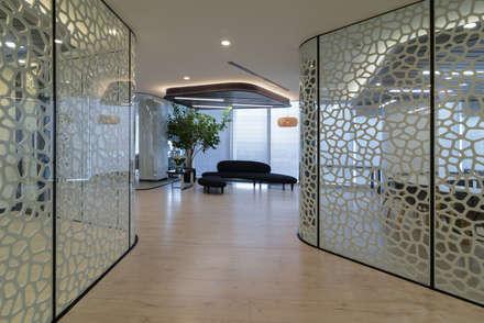 Oficinas FerradaNehme : Paredes y pisos de estilo moderno por Sociedad Constructora Atenas