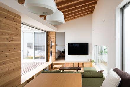 フィルターハウス: 窪江建築設計事務所が手掛けたリビングです。