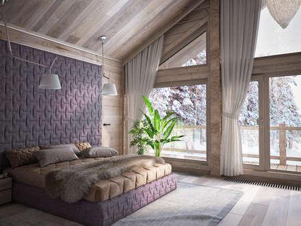 Загородный дом из бруса: Спальни в . Автор – премиум интериум