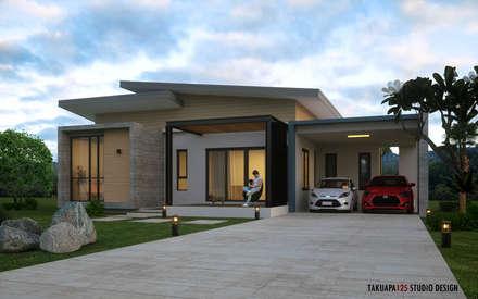 บ้านพักอาศัย 1 ชั้น ค.ส.ล. ไสตล์โมเดิร์น:  บ้านและที่อยู่อาศัย by Takuapa125