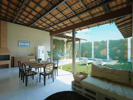 Deck: Casas rústicas por Moderna Arquitetura Brasil