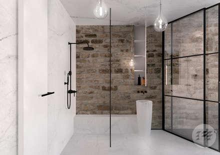 Projekt domu - rewitalizacja istniejącego domu z kamienia.: styl , w kategorii Łazienka zaprojektowany przez 365.Stopni