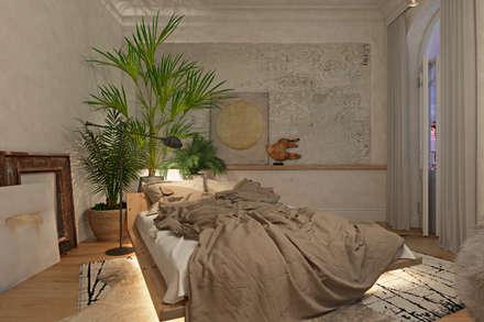 Вид на кровать. Вечернее освещение. : Спальни в . Автор – Анна Морозова