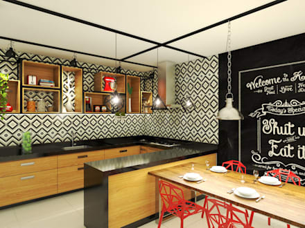 industrial Kitchen by Bruna Rodrigues Designer de Interiores