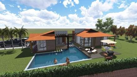 Vista Zona Social: Casas de estilo rural por ARQUITECTO JUAN ANDRES GUTIERREZ PEREZ