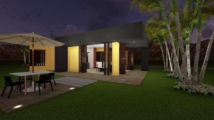 Casa Los Cerros: Jardines de estilo moderno por ARQUITECTO JUAN ANDRES GUTIERREZ PEREZ