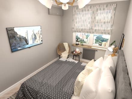 Квартира в скандинавском стиле в ЖК Wellton Park: Спальни в . Автор – AlexLadanova interior design