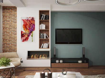 Элементы лофта в гостиной: Гостиная в . Автор – Студия интерьера PODIUM