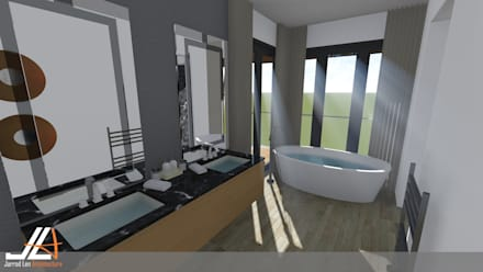 Craighall Park Residence: modern Bathroom by JLA - Jarrod Len Architecture