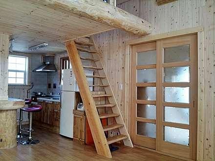 18평 소형 통나무집: 보국주택의  주방