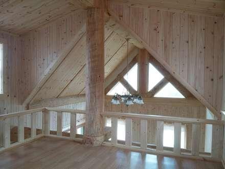 18평 소형 통나무집: 보국주택의  발코니, 베란다 & 테라스