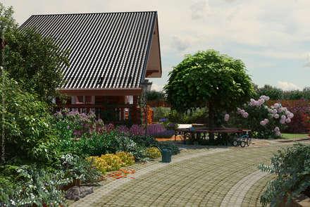Вид на дом от подъездной дороги: Сады в . Автор – Мастерская ландшафта Дмитрия Бородавкина