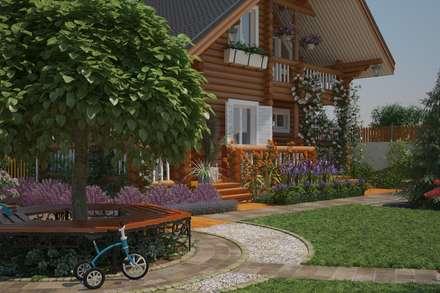 Вид на дом от парковки: Сады в . Автор – Мастерская ландшафта Дмитрия Бородавкина