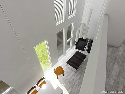 Balcón de dormitorio principal.: Livings de estilo minimalista por Smartlive Studio