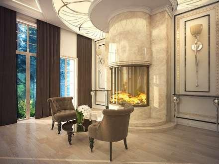 Роскошный дом в стиле арт-деко: Гостиная в . Автор – Дизайн-бюро Анны Шаркуновой 'East-West'