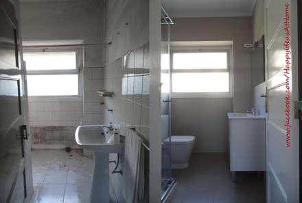 Antes&Depois: Casas de banho modernas por Happy Ideas At Home - Arquitetura e Remodelação de Interiores