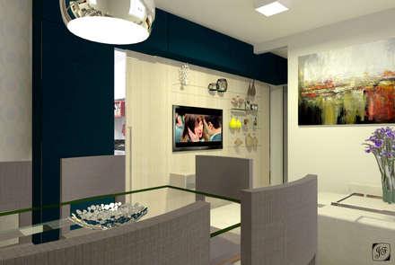 Projeto sala integrada: Salas de estar ecléticas por Jéssica Faria - Designer de Ambientes