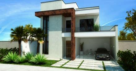 Sobrado Moderno e Aconchegante: Casas modernas por ADRIANA MELLO ARQUITETURA