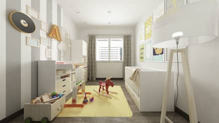 Villa CA: Stanza dei bambini in stile in stile Moderno di De Vivo Home Design