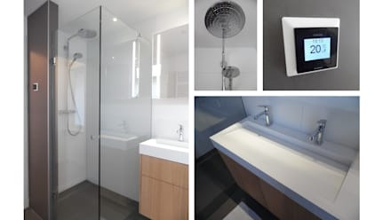 Badkamer karakteristiek jaren 30 woonhuis: moderne Badkamer door Studio'OW Interieurontwerp