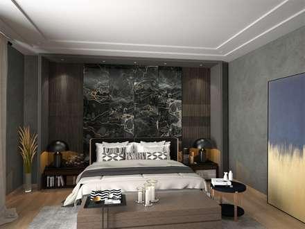 Murat Aksel Architecture – Modern house: modern tarz Yatak Odası