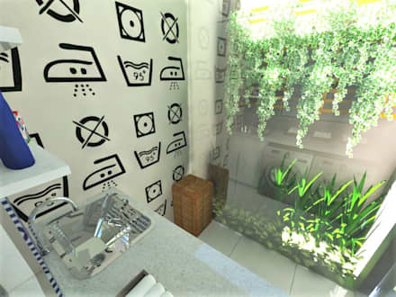 Lavanderia - FB: Paredes  por Grafite - Arquitetura e Interiores