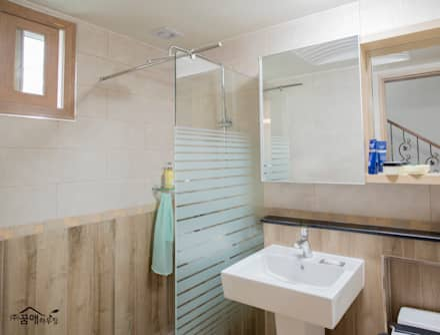 힐링이 되는, 제주도 목조주택: 꿈애하우징의  화장실