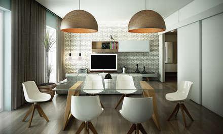 Sala da pranzo: Sala da pranzo in stile in stile Industriale di rendering4you