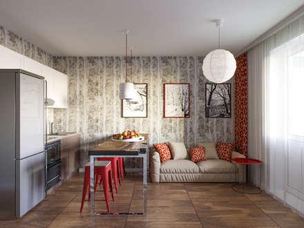 Квартира для молодой семьи. 55м2: Кухни в . Автор – PRO-DESIGN