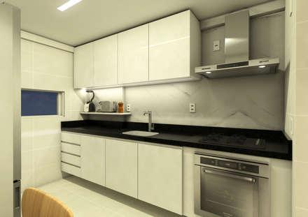 APARTAMENTO | JH: Cozinhas minimalistas por Beiral Arquitetura e Urbanismo