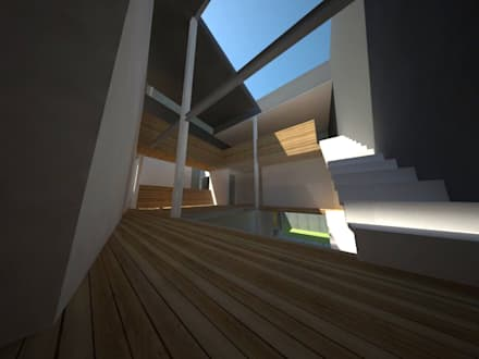 Casa Jara-Andrade, Iquique... Tramas, vacío y luz.: Pasillos, hall y escaleras de estilo  por Toledo estudio Arquitectos