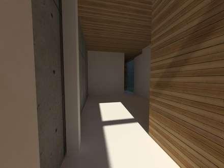 Casa Jara-Andrade, Iquique... Tramas, vacío y luz.: Salas multimedias de estilo  por Toledo estudio Arquitectos