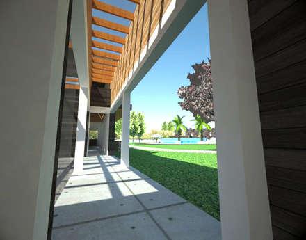 Centro de eventos, Codigua, Melipilla.: Pasillos, hall y escaleras de estilo  por Toledo estudio Arquitectos