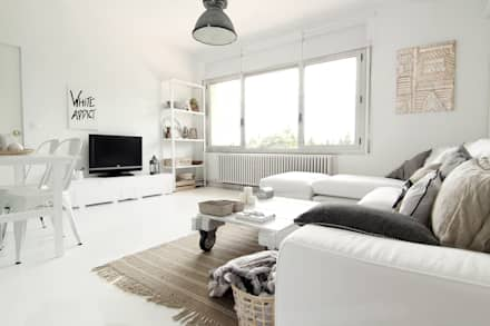 salon estilo nordico: Salones de estilo escandinavo de ALQUIMIA DECO