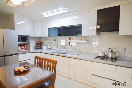 꿈속의 동화같은 단층 목조주택: 꿈애하우징의  주방