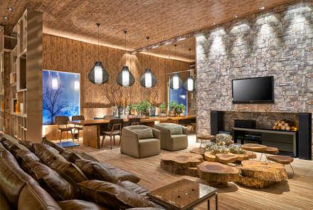 rustic Media room by Luciana Savassi Guimarães arquitetura&interiores
