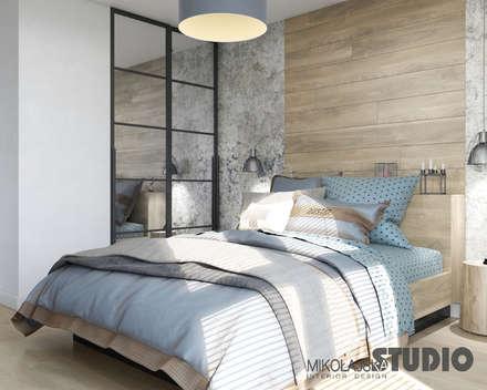Sypialnia W Stylu Loft : styl , w kategorii Sypialnia zaprojektowany przez MIKOŁAJSKAstudio