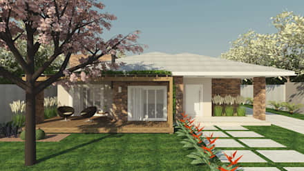 Casa de campo _ MJ: Casas rústicas por Cíntia Schirmer   Estúdio de Arquitetura e Urbanismo