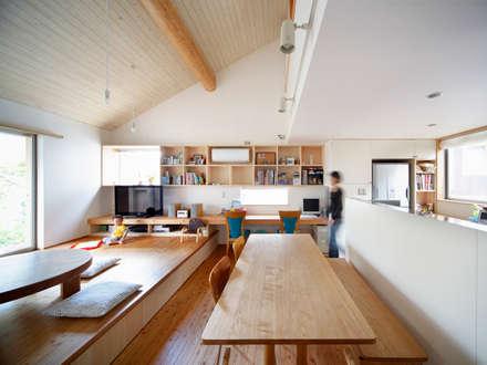 山手台の家: 樋口章建築アトリエが手掛けたリビングです。