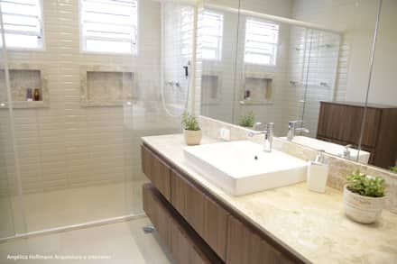 Cozinha Gourmet Vila Mariana: Banheiros modernos por Angélica Hoffmann Arquitetura e Interiores