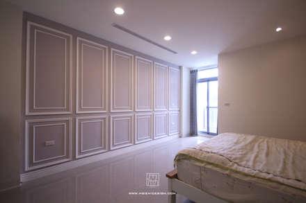 主臥室牆面造型:  牆壁與地板 by 協億室內設計有限公司