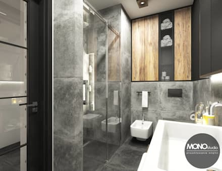 Łazienka w szarości: styl , w kategorii Łazienka zaprojektowany przez MONOstudio