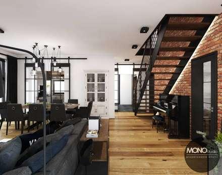 Salon w industrialnym klimacie: styl , w kategorii Salon zaprojektowany przez MONOstudio