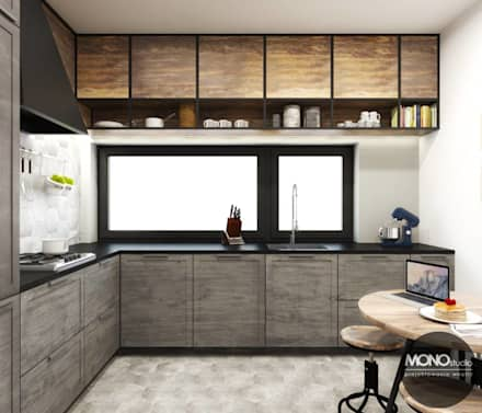 Kuchnia w industrialnym klimacie: styl , w kategorii Kuchnia zaprojektowany przez MONOstudio