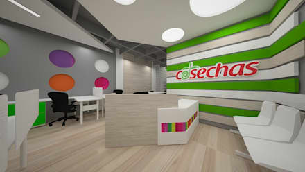 Diseño oficinas franquicia Cosechas Express: Oficinas y Tiendas de estilo  por Dies diseño de espacios