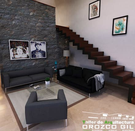CASA MONTERRA 1: Salas de estilo minimalista por OROZCO GIL TALLER DE ARQUITECTURA