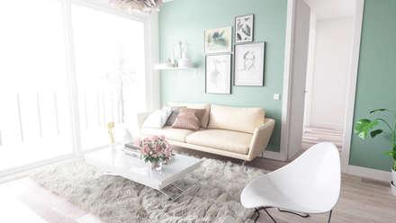 Apartamento nordico / Cozy, fresh and nordic apartment: Salones de estilo escandinavo de Arrin.