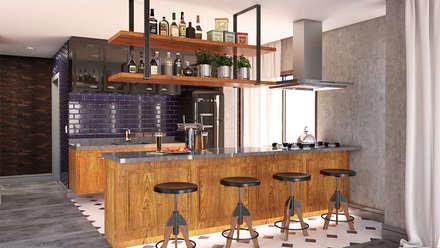Área Gourmet: Cozinhas industriais por MS One Arquitetura & Design de Interiores