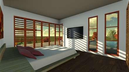 casa en la colina dormitorios de estilo moderno por