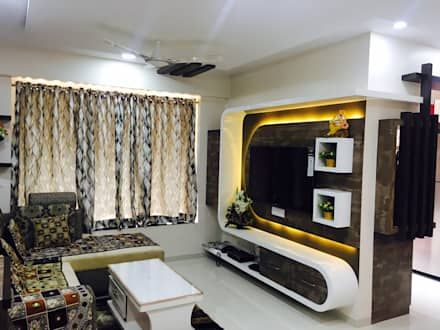 2 BHK PROJECT @2017: modern Living room by SHARADA INTERIORS